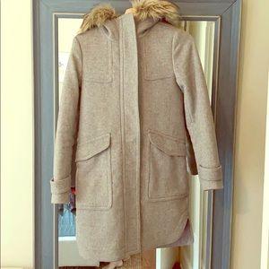 M MP S Blush Beige NWT $258 Size XS Navy Ann Taylor Faux Fur Coat